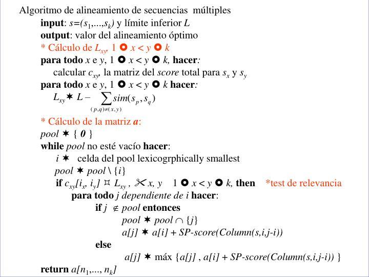 Algoritmo de alineamiento de secuencias  múltiples