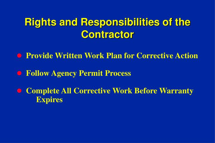 Rights and Responsibilities of the Contractor