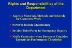 rights and responsibilities of the department