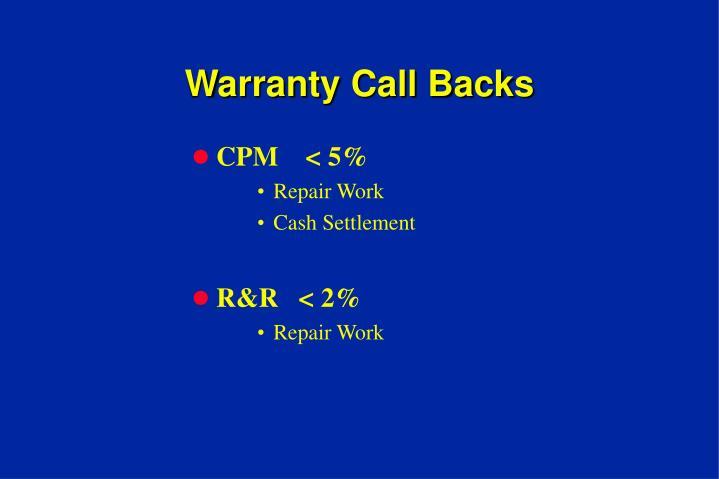 Warranty Call Backs