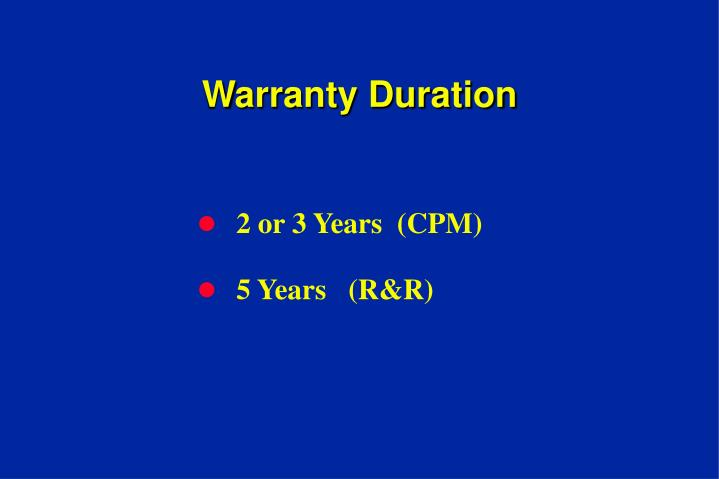 Warranty Duration