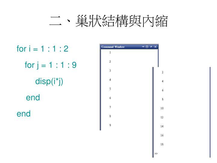 二、巢狀結構與內縮