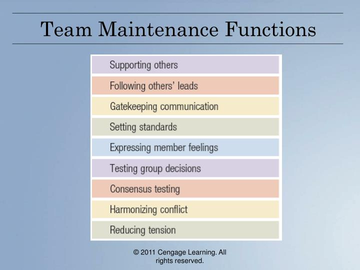 Team Maintenance Functions