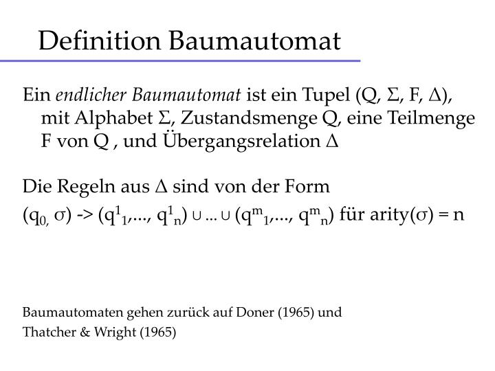 Definition Baumautomat