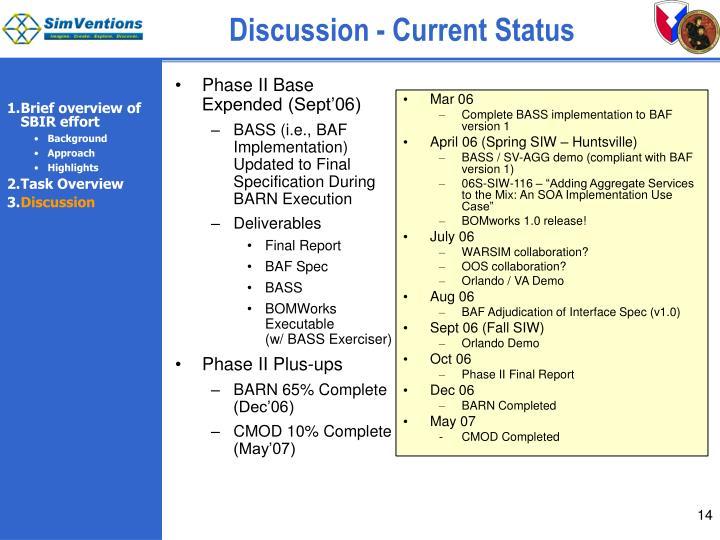 Discussion - Current Status