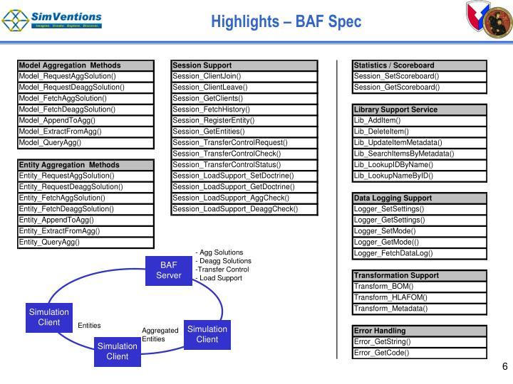 Highlights – BAF Spec