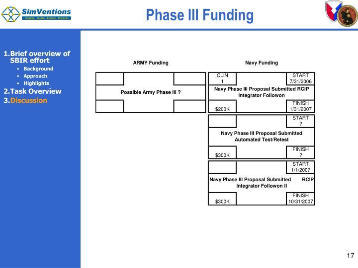 Phase III Funding
