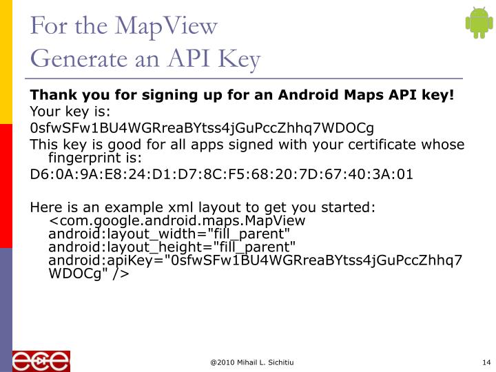 For the MapView