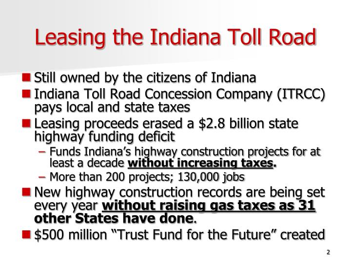 Leasing the indiana toll road