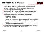 jpeg2000 code stream