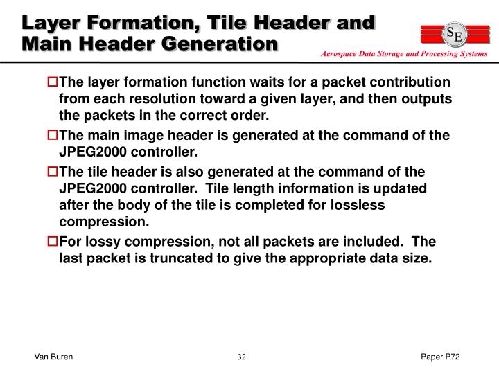 Layer Formation, Tile Header and Main Header Generation