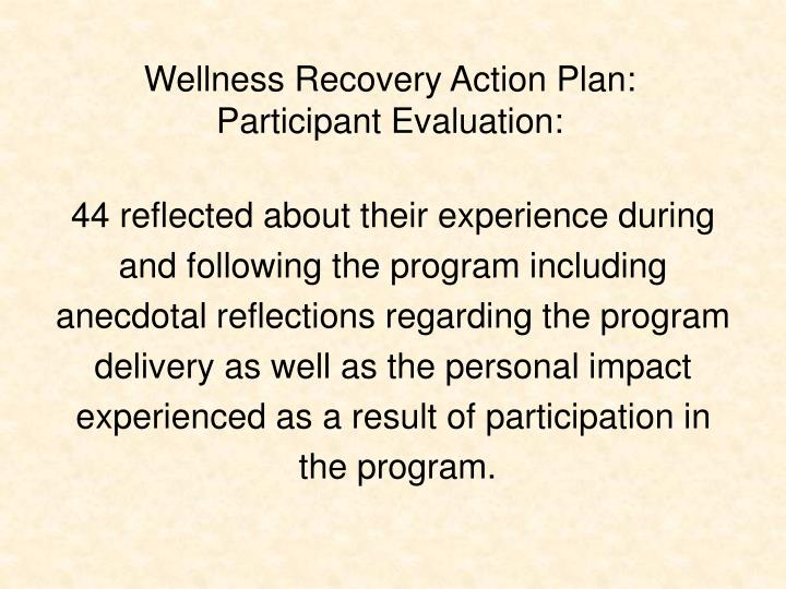 Wellness Recovery Action Plan: