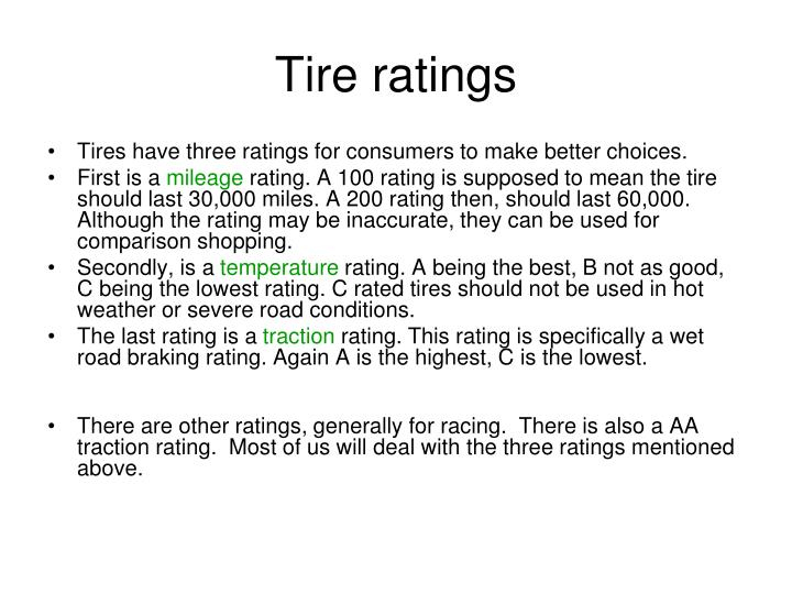 Tire ratings