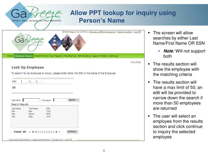 Allow PPT lookup for inquiry using Person's Name