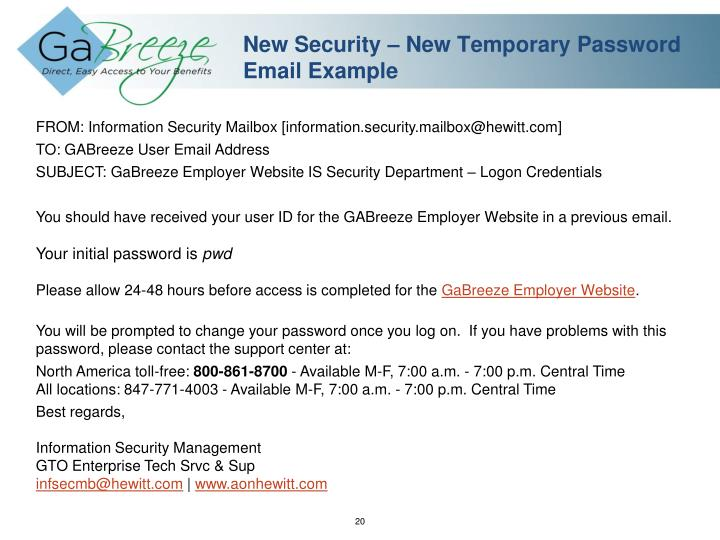New Security – New Temporary Password Email Example