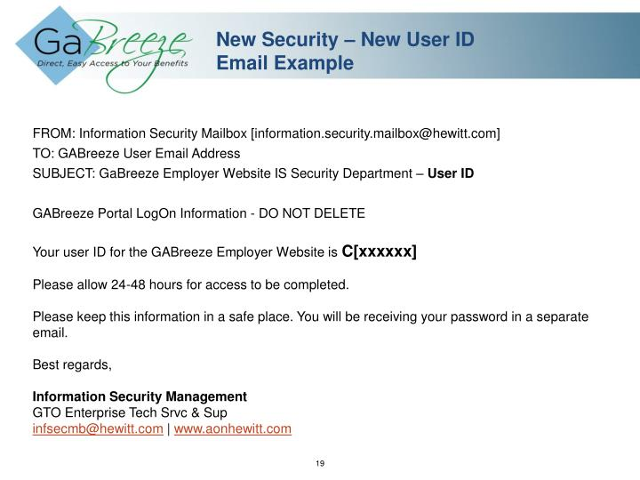 New Security – New User ID