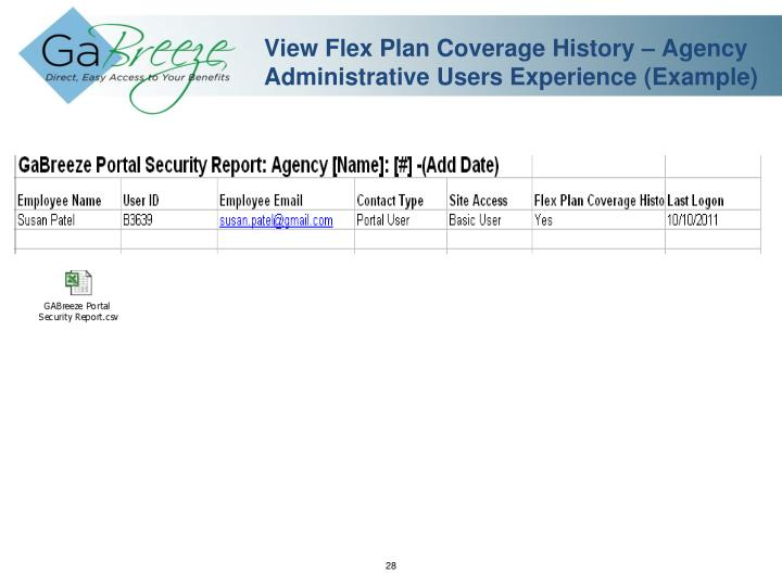 View Flex Plan Coverage History – Agency Administrative Users Experience (Example)
