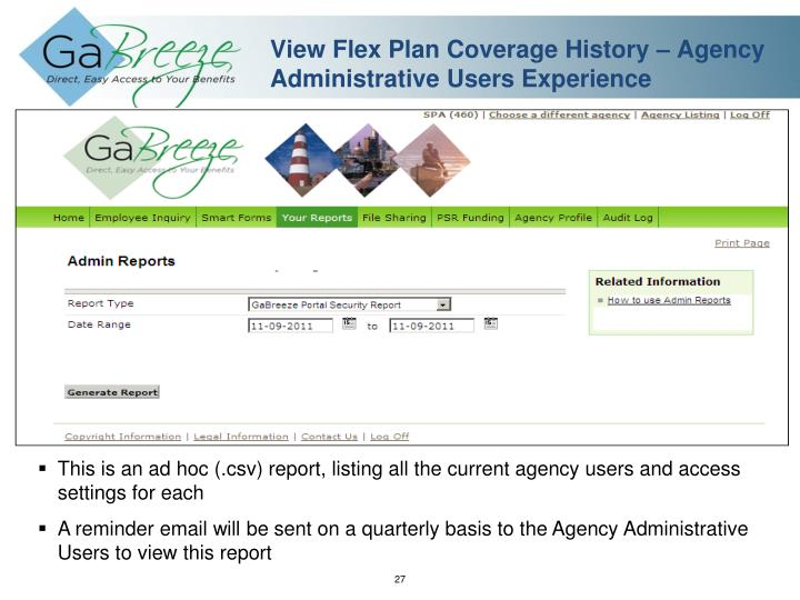View Flex Plan Coverage History – Agency Administrative Users Experience
