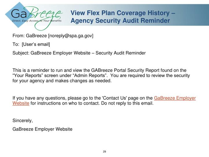 View Flex Plan Coverage History – Agency Security Audit Reminder