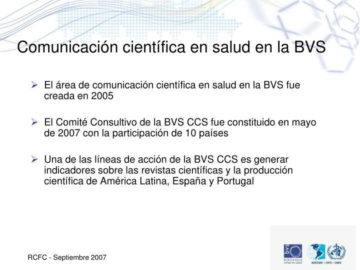 Comunicación científica en salud en la BVS