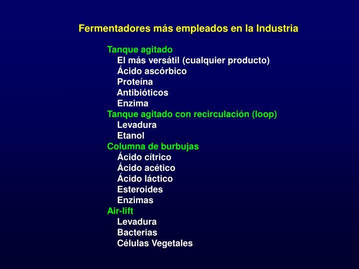 Fermentadores más empleados en la Industria