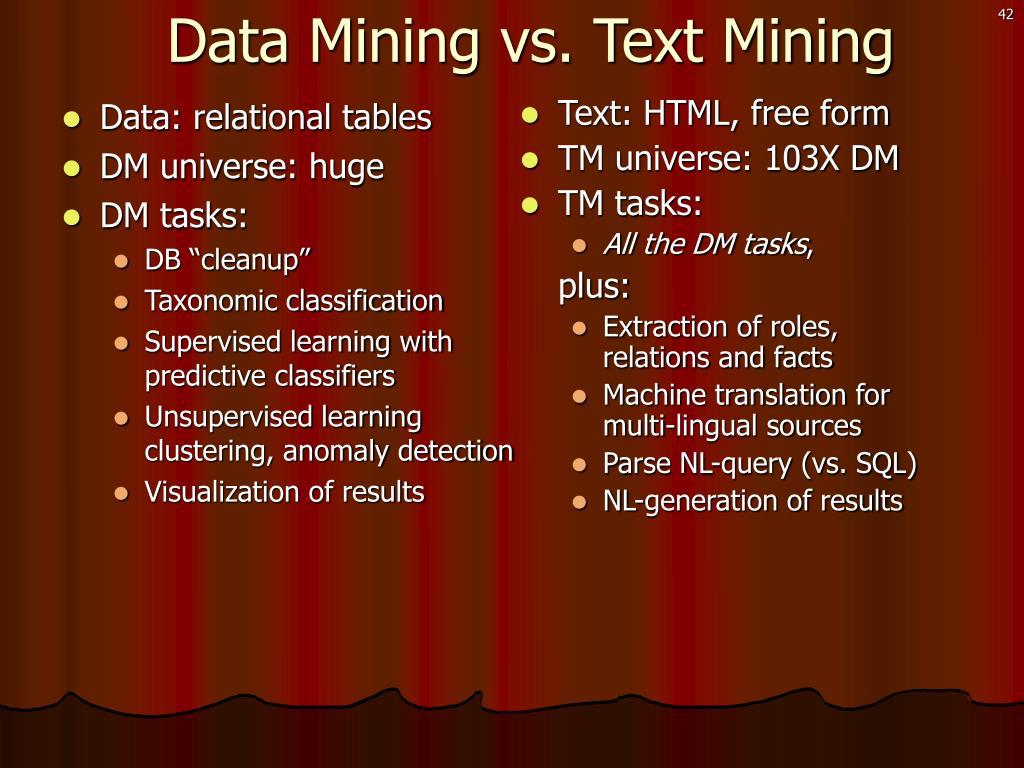 Data Mining vs. Text Mining