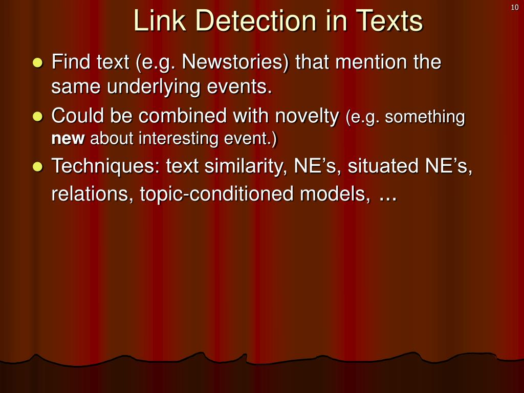 Link Detection in Texts