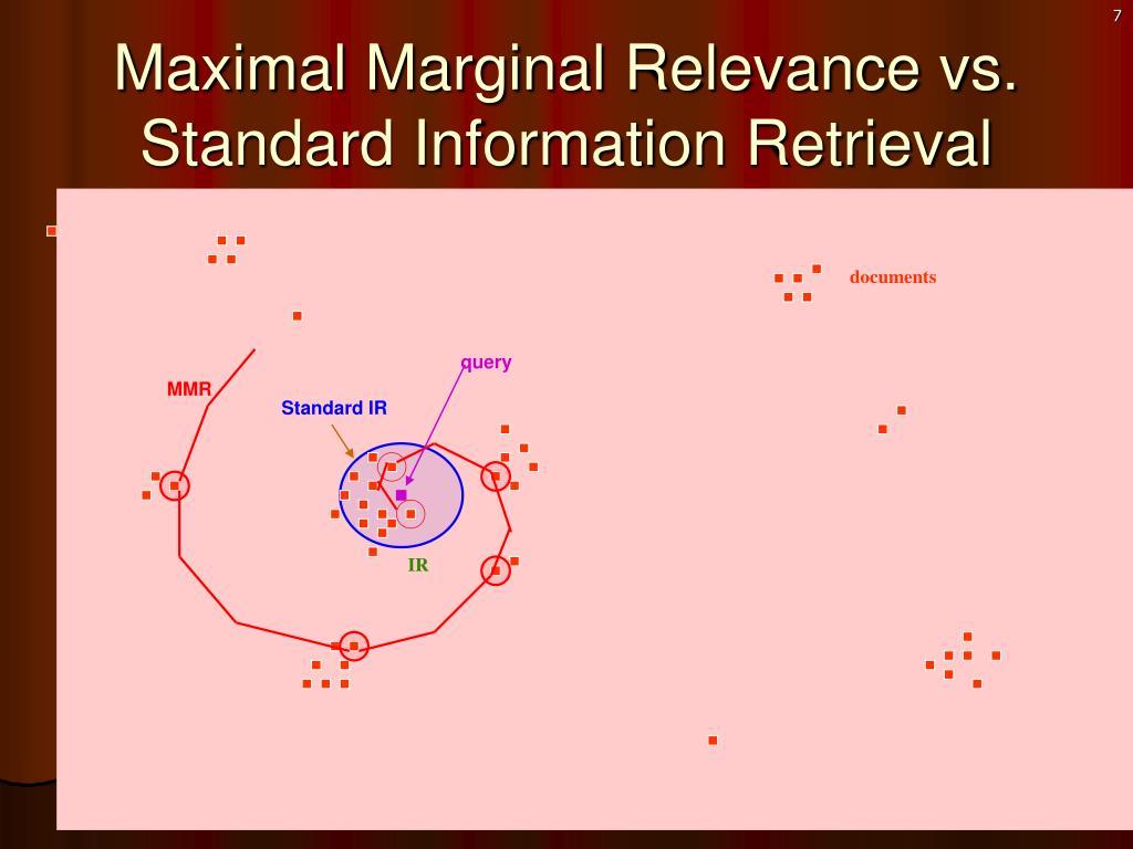 Maximal Marginal Relevance vs. Standard Information Retrieval