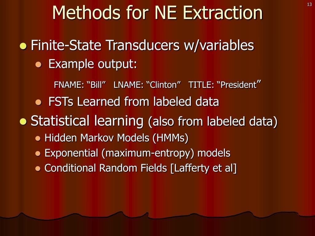 Methods for NE Extraction