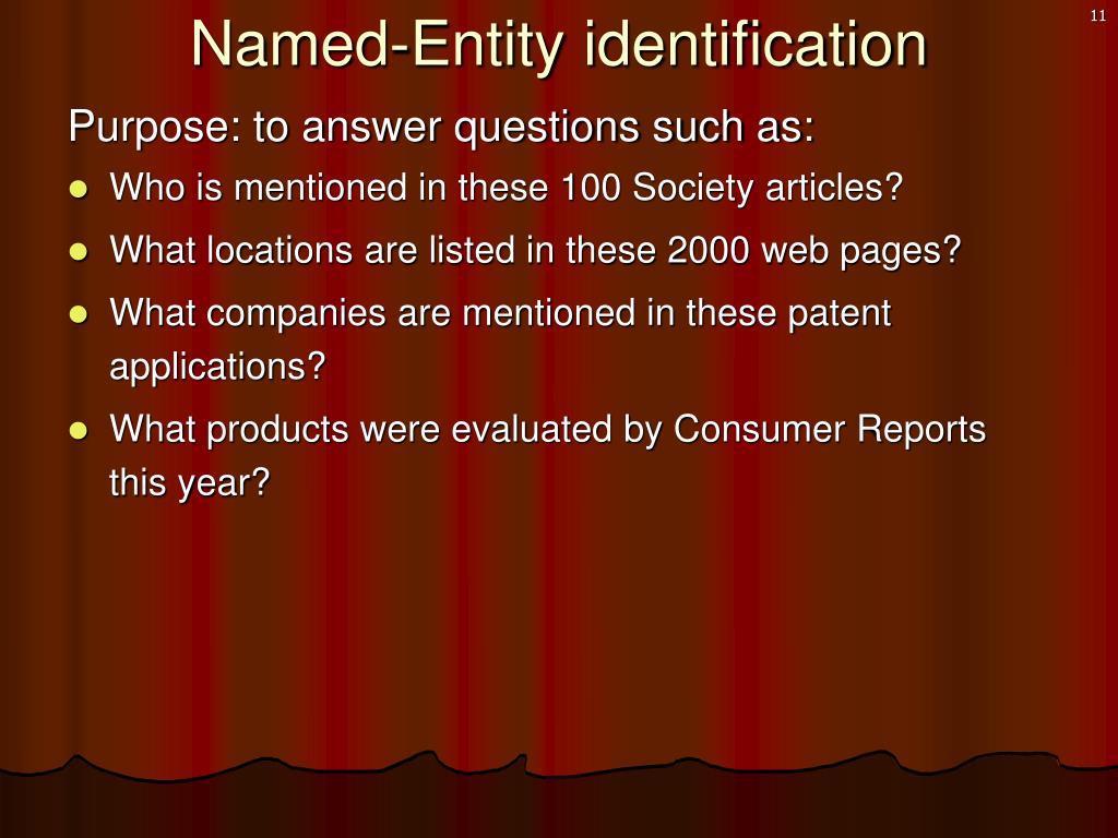 Named-Entity identification