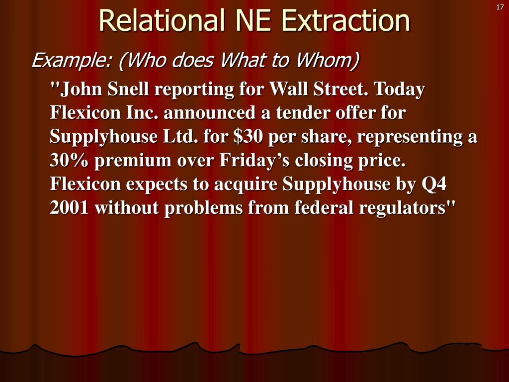 Relational NE Extraction