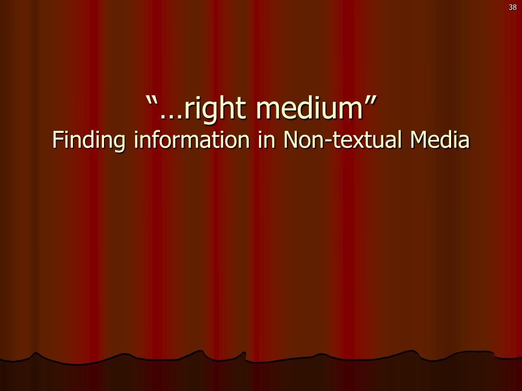 """""""…right medium"""""""