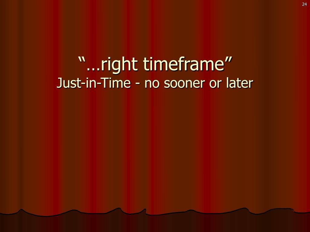 """…right timeframe"""