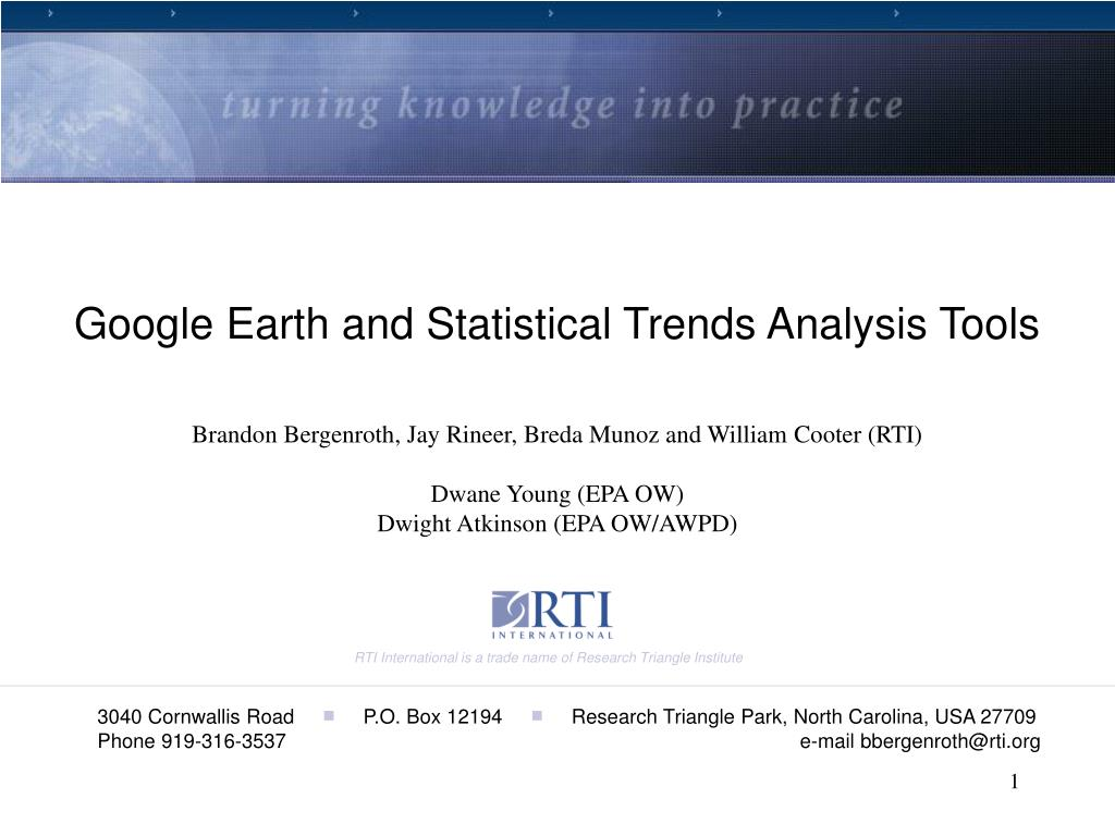 Google Earth and Statistical Trends Analysis Tools