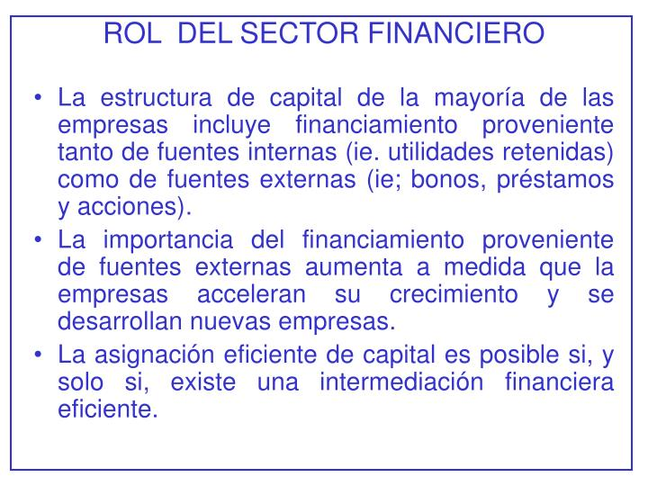 Rol del sector financiero