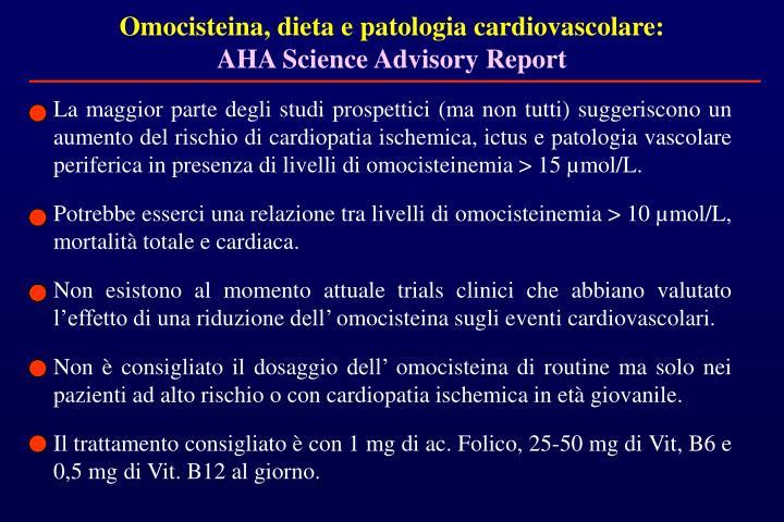 Omocisteina, dieta e patologia cardiovascolare: