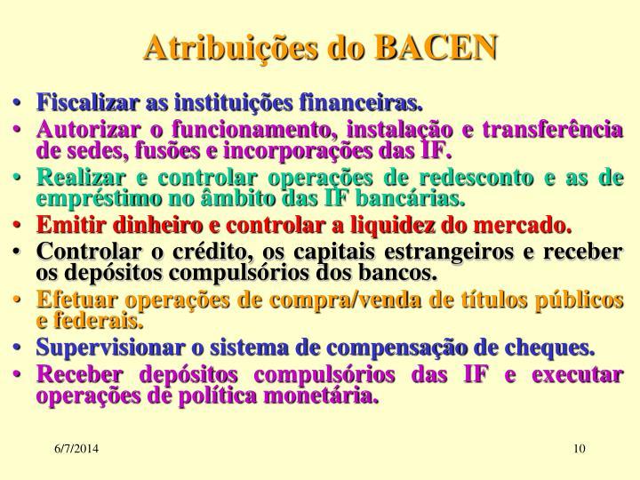 Atribuições do BACEN