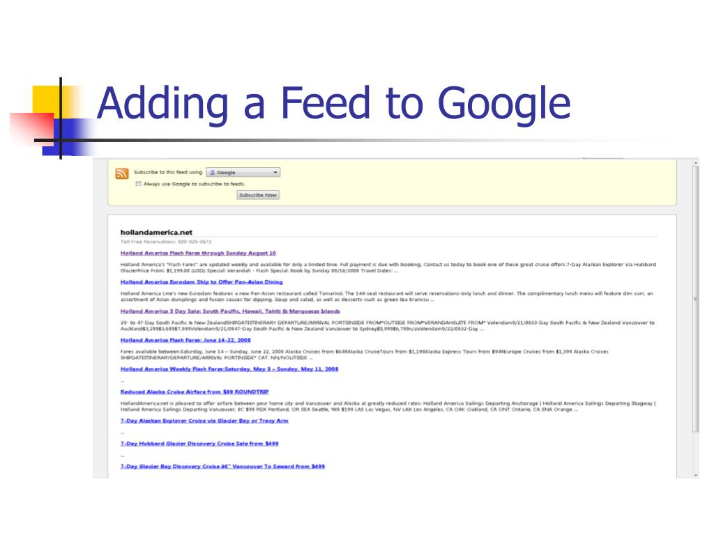 Adding a Feed to Google