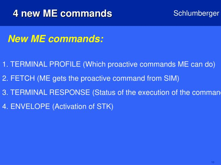4 new ME commands