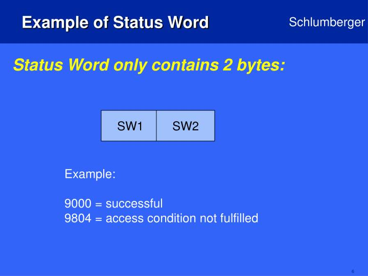 Example of Status Word