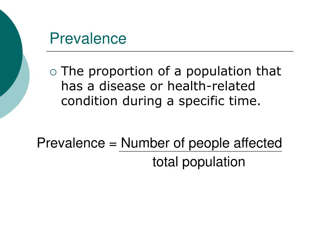 Prevalence = Number of people affected