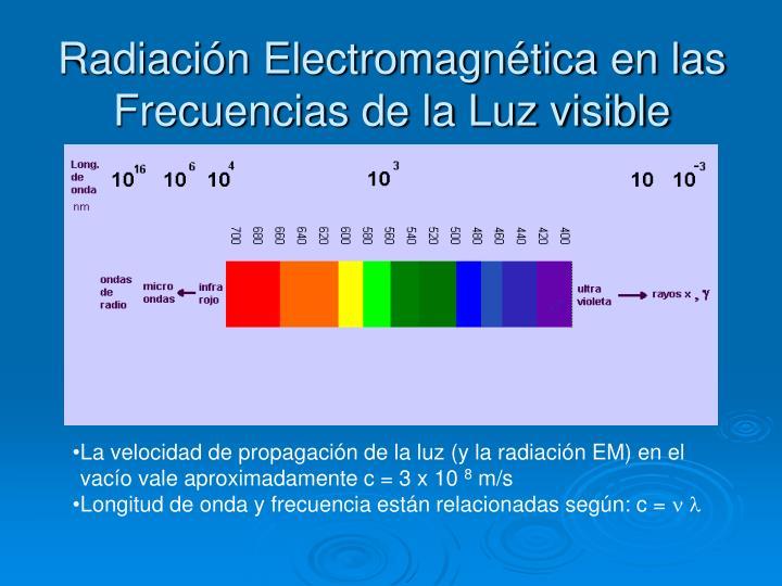 Radiación Electromagnética en las Frecuencias de la Luz visible