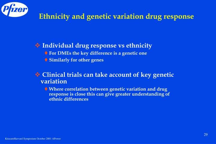Ethnicity and genetic variation drug response