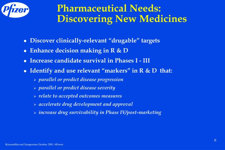 Pharmaceutical Needs: