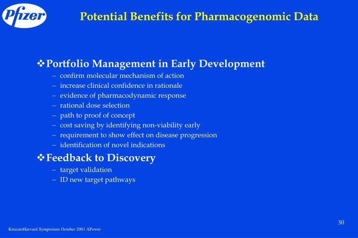 Potential Benefits for Pharmacogenomic Data