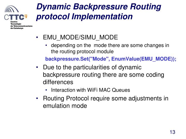 Dynamic Backpressure Routing protocol Implementation