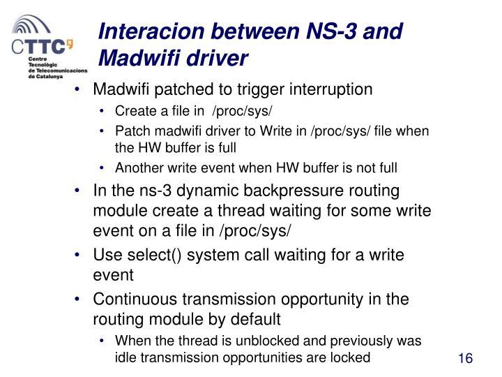 Interacion between NS-3 and Madwifi driver