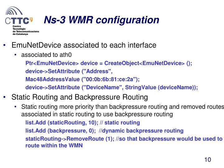 Ns-3 WMR configuration