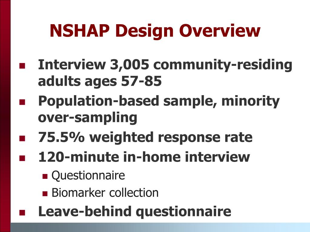 NSHAP Design Overview