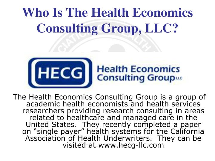Who Is The Health Economics Consulting Group, LLC?